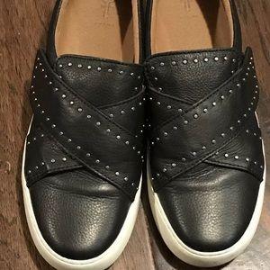 FRYE Nina Studded Black Leather Sneaker  Size 7